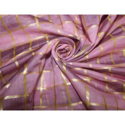 cotton chanderi fabric plaids shade of pink & metallic gold 44'' wide