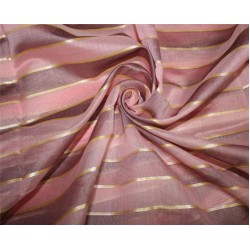 cotton chanderi fabric stripe baby pink /lavender & metallic gold 44'' wide
