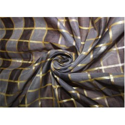 Cotton chanderi fabric plaids shade of grey & metallic gold 44'' wide