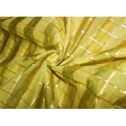 cotton chanderi fabric plaids shade of lemon yellow & metallic gold 44'' wide