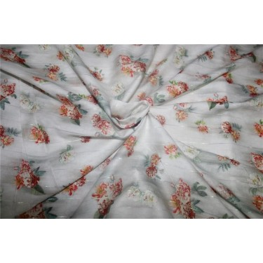 Cotton satin lurex stripe digital print ivory color 44'' wide