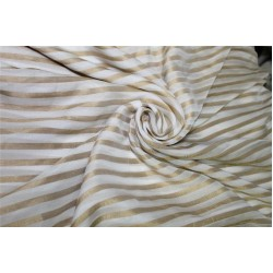 Modal Lurex Stripe fabric Gold and ivory 44'' FF12[3]