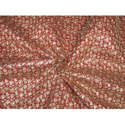 "Embroidery Brocade Fabric red x gold color 44""wide BRO651[4]"