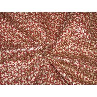 """Embroidery Brocade Fabric red x gold color 44""""wide BRO651[4]"""