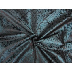 "Brocade Fabric Teal x black Color 44""wide Bro652[1]"