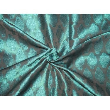 "Brocade Fabric Teal x balck Color 44""wide Bro652[2]"