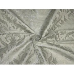 "Brocade fabric ivory x metallic silver color 44""wide BRO594[5]"