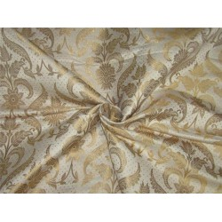 "Brocade fabric cream x metallic gold color 44""wide BRO594[4]"