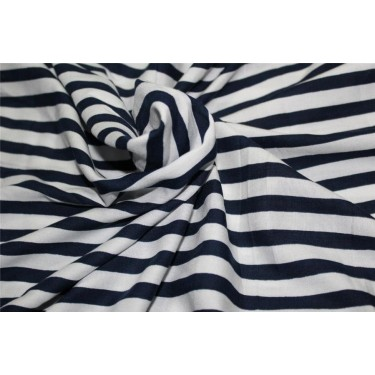 Cotton Satin / Rayon Printed fabric navy blue x ivory color 44'' wide
