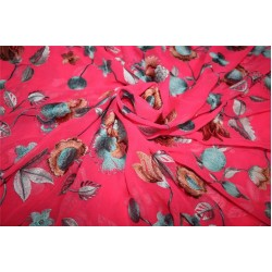 """SILK Georgette Embroidered Neon Pink/Blue /Brown color 44""""wide"""