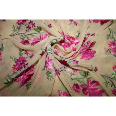 """100% SILK georgette heavily embroidered champagne/pink/green 44""""wide"""