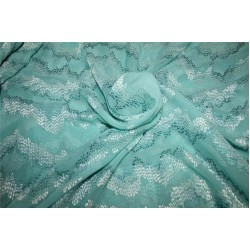 "100% silk georgette heavily embroidered sea green & blue  44""wide"