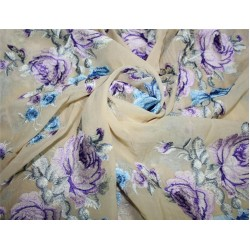 "100% silk georgette heavily embroidered champagne /blue/lavender/brown44""wide"