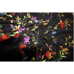 "100% silk georgette heavily embroidered black/red/green color 44""wide"