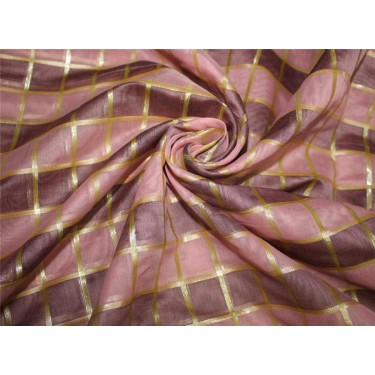 Cotton chanderi fabric plaids shade of baby pink & metallic gold 44'' wide