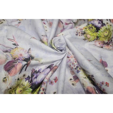 Cotton lawn digital printed fabric lavender color 44'' wide