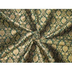 "Brocade fabric emerald green  x metallic gold color 44""WIDE BRO648[3]"