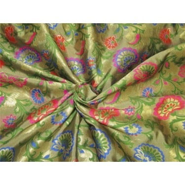 "Brocade fabric pink ,green and metallic gold color 44""wide bro608[3]"