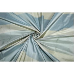 "SILK TAFFETA 3 color stripe shades of slate blue and cream Fabric54""TAFS154[1]"