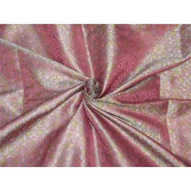 "Silk Brocade Fabric pink lavender x green color 44""Bro606[3]"