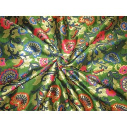 "Brocade fabric redish orange ,blue ,green and metal gold color 44""wide bro608[2]"