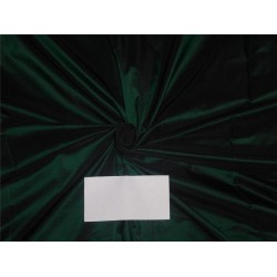100% Silk Taffeta Fabric Bottle Green x Black Color 54""