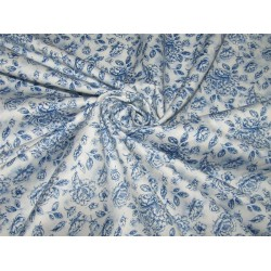 "100% COTTON SATIN 58""blue floral print USING DISCHARGE PRINTING METHOD"