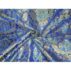 Heavy Brocade fabric royal blue ,blue x metallic gold color 36'' BRO589[2]