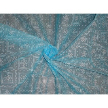 "Cotton organdy floral printed fabric blue 44""stiff cotorg-newprint7"