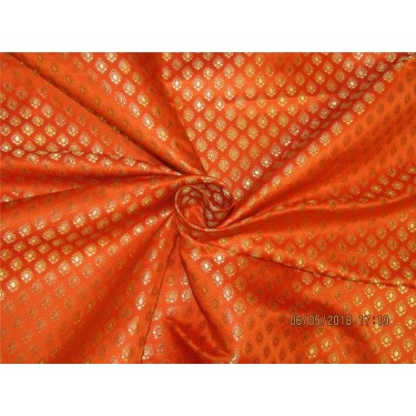 "Silk Brocade Fabric 3.25 YARDS ORANGE & METALIC GOLD 44""BRO588[10]"
