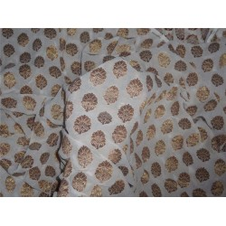 100% SILK Georgette Fabric Ivory x Metallic Gold Small Motif 44""