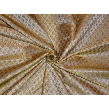 SILK BROCADE FABRIC Light GOLD 44""