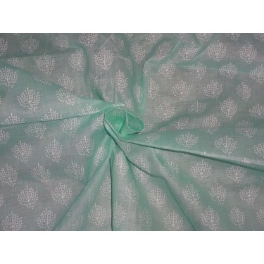 "Cotton organdy floral printed fabric mint green 44""stiff cotorg-newprint 10"