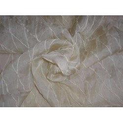 dark cream silk organza -diamond pintuck with beads