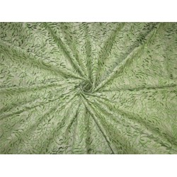 100% Silk Dupion Fabric Embroidery Pistachio green x green color 54''DUP# E55[2]