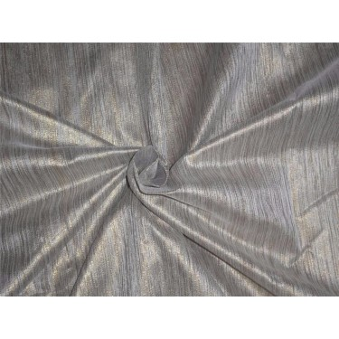 """Spun SILK BROCADE FABRIC silver & Gold COLOUR BRO549[5] 44"""" wide sold by the yard"""