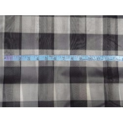 "silk organza checks grey black and ivory color 44""wide"