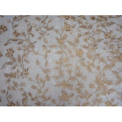 "Embroidered ivory with gold net 60"" wide B2#94[2]"