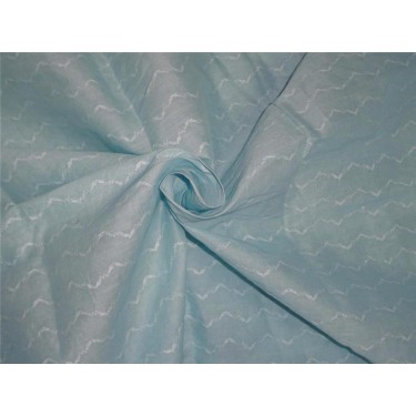 cotton organdy fabric leno curvy zigzag design 44'' teal color