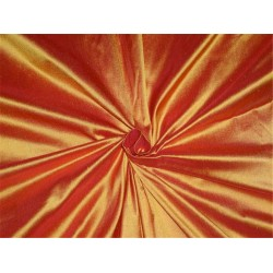 PURE SILK DUPIONI FABRIC RED X YELLOW