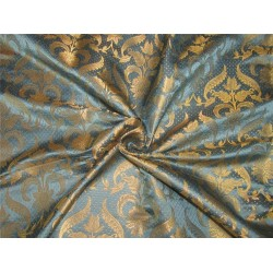 Brocade fabric blueish grey x metallic gold 44 inches by the yard BRO577[7]