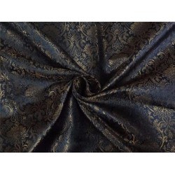 "SILK BROCADE BLACK X OLD METALLIC GOLD COLOR 44""INCH"