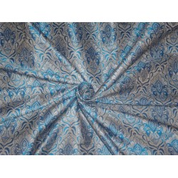 "Brocade fabric Blue X Silver Color 44""BRO464[2]"