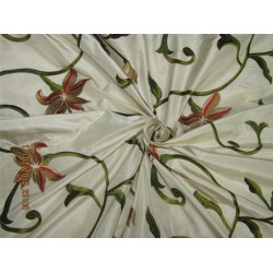 SILK TAFFETA FABRIC ivory with colorful floral Embroidery TAF E19