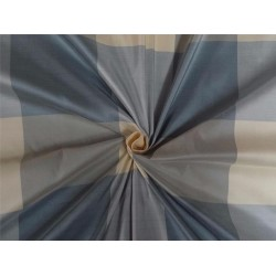 SILK DUPIONI FABRIC IVORY CREAM GREY GREYISH BLUE COLOR PLAIDS / PKT#C81