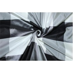 "SILK TAFFETA Black and White Buffalo Check Fabric 54""TAFC58"