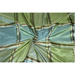 "SILK TAFFETA BLUE GREEN AND BROWN PLAIDS Fabric TAFC59[1] 54"" wide sold by the yard"