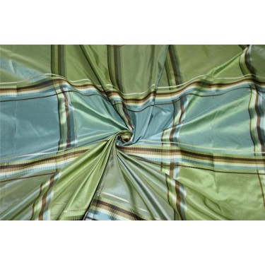 """SILK TAFFETA BLUE GREEN AND BROWN PLAIDS Fabric TAFC59[1] 54"""" wide sold by the yard"""