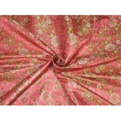 "Silk Brocade fabric coral pink and green 44""Bro642[4]"