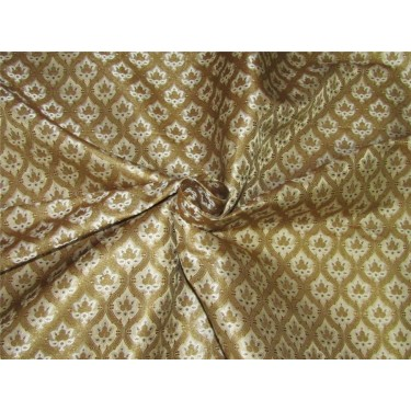 "Brocade fabric ivory/cream x metallic gold color 44""wide BRO643[2]"